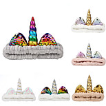 abordables -1 pièces enfants / bambin filles transfrontalier exclusif licorne sequin bandeau Halloween noël bandeau corail polaire visage lavage