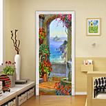 economico -stile pittura a olio 2 pezzi adesivi per porte creativi autoadesivi isola scenario soggiorno decorazione fai da te adesivi murali impermeabili per la casa