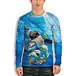 abordables -Homme T-Shirts T-shirt Impression 3D Imprimés Photos Poissons Animal Imprimé Manches Longues Quotidien Hauts Simple Designer Grand et grand Bleu