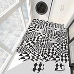economico -creativo in bianco e nero grafica geometrica esagonale antiscivolo pavimento adesivi in pvc cucina bagno pavimento impermeabile autoadesivo fai da te adesivi murali rimovibili