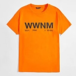 abordables -Homme Tee T-shirt Estampage à chaud Imprimés Photos Lettre Imprimé Manches Courtes Décontracté Hauts 100% Coton basique Designer Grand et grand Orange