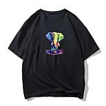 abordables -Homme Tee T-shirt Estampage à chaud Imprimés Photos Eléphant Animal Imprimé Manches Courtes Décontracté Hauts 100% Coton basique Designer Grand et grand Noir