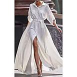 economico -Per donna Vestito svasato Vestito maxi Bianco Manica lunga Tinta unica Primavera Estate Colletto Casuale 2021 S M L XL XXL