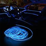 abordables -voiture el fil led bande 5m led voiture lumières atmosphère lumière pour bricolage flexible auto intérieur lampe décoration de fête 12v néon bandes 2pcs 1pc ensemble