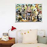 economico -3d finta finestra nuova decorazione murale tigre mondo animale casa corridoio sfondo può essere rimosso adesivi