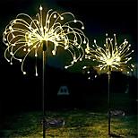 abordables -LED feux d'artifice solaires 2pcs ensemble extérieur étanche guirlande de fées 90120150 leds guirlande lumineuse jardin pelouse rue paysage décoration de noël