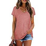 economico -Per donna maglietta Liscio A V Top Cotone Essenziale Top basic Bianco Nero Vino