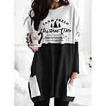 economico -Per donna maglietta Pop art Alfabetico Manica lunga Tasche Rotonda Top Essenziale Top basic Nero Arancione Cachi