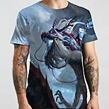 abordables -Homme Unisexe Tee T-shirt Chemise 3D effet Dragon Imprimés Photos Animal Grandes Tailles Imprimé Manches Courtes Décontracté Hauts basique Designer Grand et grand Col Rond Bleu / Eté