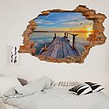 economico -La decorazione del corridoio della camera da letto del soggiorno della stazione del lago della nuova parete rotta 3d può essere rimossa adesivi