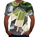abordables -Homme T-shirt 3D effet 3D Rivet Maille Manches Courtes Décontracté Hauts Blanche Jaune Vert