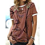 economico -Per donna maglietta Graffiti Con stampe Rotonda Top Essenziale Top basic Blu Rosa polverosa Grigio