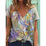 economico -Per donna maglietta Pop art Farfalla Con stampe A V Top Essenziale Top basic Viola Rosso Rosa