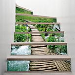economico -creativo 3d scale adesivo paese legno percorso decorazione casa adesivo adesivo da parete impermeabile