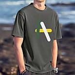 abordables -Homme Unisexe Tee T-shirt Estampage à chaud Imprimés Photos Lettre Grandes Tailles Imprimé Manches Courtes Décontracté Hauts 100% Coton basique Designer Grand et grand Blanche Noir Gris