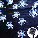 abordables -guirlande solaire led extérieure étanche 6.5m 30leds 7m flocon de neige 50leds guirlandes led guirlande lumineuse fée blanc chaud blanc coloré 8 mode noël fête de vacances de mariage patio lampe de