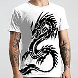 abordables -Homme Unisexe Tee T-shirt 3D effet Dragon Imprimés Photos Animal Grandes Tailles Imprimé Manches Courtes Décontracté Hauts basique Designer Grand et grand Blanche