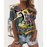 economico -Per donna Pittura maglietta Pop art Con stampe Rotonda Essenziale Top Verde
