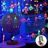 economico -luci stringa led 3m 20leds spazio astronauta luci stringa fata azionato da usb o batteria con telecomando 8 modalità razzo impermeabile pianeta luce stringa principale camera dei bambini festa dei