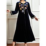 economico -Per donna Vestito a caftano Vestito maxi Blu turchese Manica lunga Fantasia floreale Con ricami Estate Rotonda Casuale 2021 XL XXL 3XL 4XL
