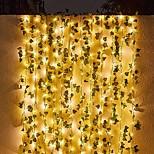 economico -ha condotto la luce della stringa solare 10m 3mx2m ha condotto la luce solare della stringa esterna impermeabile luci appese della stringa principale piante di foglie di edera artificiale per il