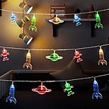 economico -luci della stringa led spazio astronauta a batteria luce fata 2 m 10 led razzo pianeta lampada camera festa di festa decorazione della stanza di casa regali per bambini