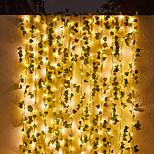 economico -luci della stringa solare esterna impermeabile 2 m 20 leds artificiale rampicante foglia fata stringa luci 2 pz 3 pz edera natale festa di nozze giardino decorazione della casa ip65 impermeabile