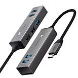 economico -BASEUS Alta velocità CAHUB-D0G USB 3.0 USB C a USB 2.0 USB 3.0 Hub USB 5 Porti Per Windows, PC, laptop
