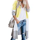 economico -Per donna Lavorato a maglia Monocolore Cardigan Cotone Manica lunga Maglioni cardigan A V Autunno Inverno Blu Giallo Arancione