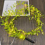 economico -ha condotto la simulazione della luce della stringa foglia verde rattan luci stringa fata 90cm ghirlanda lampada a sospensione ha condotto la luce della stringa di filo di rame famiglia matrimonio