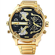 cheap -Men's Sport Watch Military Watch Bracelet Watch Stainless Steel Black / Gold Water Resistant / Waterproof Calendar / date / day Creative Analog Charm Luxury Casual Bangle - Black / Gold Blue White