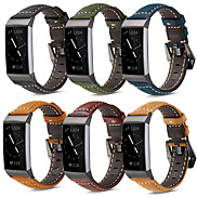 cheap -Watch Band for Fitbit Charge 3 Fitbit Modern Buckle Genuine Leather Wrist Strap
