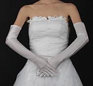 abordables -Coton / Satin Longueur Poignet / Longueur Opéra Gant Charme / Elégant / Gants de Mariée Avec Broderie / Couleur Unie