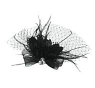 abordables -Tulle / Cristal / Plume Diadèmes / Voiles Birdcage avec 1 Mariage / Occasion spéciale / Fête / Soirée Casque / Tissu