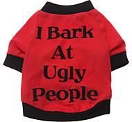 economico -Cane T-shirt Vestiti del cucciolo Lettere & Numeri Abbigliamento per cani Vestiti del cucciolo Abiti per cani Traspirante Nero Rosso Costume per ragazza e ragazzo cane Cotone XS S M L XL XXL
