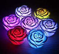 abordables -1pc rose fleur led nuit de lumière changeant 7 couleurs romantique lampe de bougie