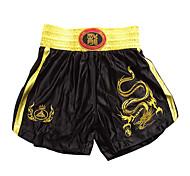 abordables -coup de pied professionnel broderie short dragon d'or de la boxe et noir (taille moyenne)