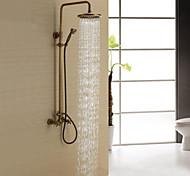 economico -Sistema doccia Impostato - Effetto pioggia Antico Ottone antico Sistema doccia Valvola in ceramica Bath Shower Mixer Taps