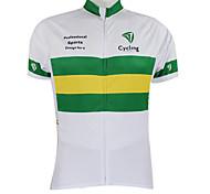 abordables -Malciklo Femme Homme Manches Courtes Maillot Velo Cyclisme Eté Polyester Blanc / Vert Australie Champion Drapeau National Cyclisme Maillot Sommet VTT Vélo tout terrain Vélo Route Coupe Vent Zip