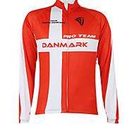 abordables -Malciklo Femme Homme Manches Longues Maillot Velo Cyclisme Hiver Polyester Danemark Champion Drapeau National Cyclisme Maillot Sommet VTT Vélo tout terrain Vélo Route Coupe Vent Zip étanche Séchage