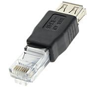 abordables -USB 2.0 femelle vers RJ45 Adaptateur mâle noir pour Ethernet