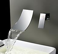 abordables -Lightinthrbox Robinets d'évier Sprinkle® - contemporain Chrome / Plaqué Montage mural / Jet pluie 2 trous
