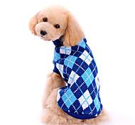 economico -Cane Maglioni Vestiti del cucciolo A quadri Di tendenza Classico Inverno Abbigliamento per cani Vestiti del cucciolo Abiti per cani Blu Costume per ragazza e ragazzo cane Lanetta XS S M L XL