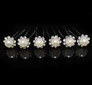 abordables -Femme Strass Alliage Imitation de perle Casque-Mariage Occasion spéciale Epingle à Cheveux 6 Pièces