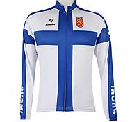 abordables -Malciklo Femme Homme Manches Longues Maillot Velo Cyclisme Hiver Polyester Bleu / blanc Finlande Champion Drapeau National Cyclisme Maillot Sommet VTT Vélo tout terrain Vélo Route Coupe Vent Zip