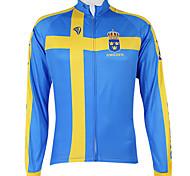 abordables -Malciklo Femme Homme Manches Longues Maillot Velo Cyclisme Hiver Polyester Bleu Suède Champion Drapeau National Cyclisme Maillot Sommet VTT Vélo tout terrain Vélo Route Coupe Vent Zip étanche Séchage