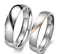 economico -Anelli per coppie Bicolore Argento Ti amo Acciaio al titanio Cuori Amore Amicizia Donne Semplice Nuziale 2 pezzi / Anello di fidanzamento