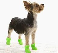 economico -Prodotti per cani Stivali / scarpette per cani Stivali da pioggia Ompermeabile Tinta unita stile sveglio Per animali domestici Silicone Gomma da cancellare PVC Nero