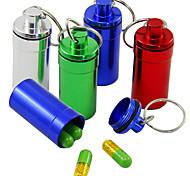 economico -portapillole portatile, portapillole in alluminio impermeabile bantoye contenitore per farmaci con portachiavi per viaggi in campeggio all'aperto, colore casuale