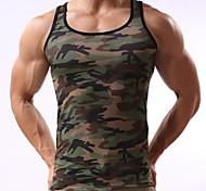 abordables -Homme Débardeur camouflage Imprimé Sans Manches Quotidien Hauts Actif Vert Véronèse